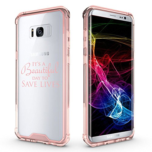 For Samsung Galaxy Clear Shockproof Bumper Case Hard Cover It's A Beautiful Day To Save Lives (Pink For Samsung Galaxy S8+ (Plus))