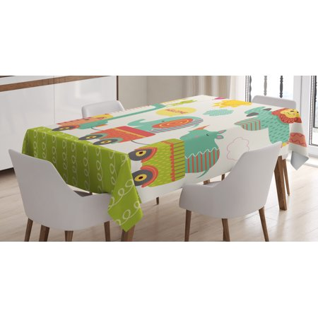 Kids Tablecloth, Train with Baby Jungle Animals Saying Welcome African Safari Theme Nursery Design, Rectangular Table Cover for Dining Room Kitchen, 52 X 70 Inches, Multicolor, by Ambesonne