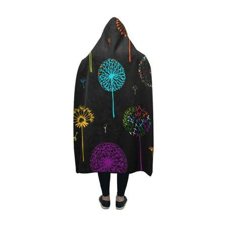 HATIART Hooded Blanket Colorful Dandelions Flower Throw Blanket 50x60 inch - image 2 de 3