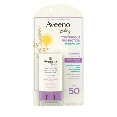 Aveeno Baby Sensitive Skin Face Sunscreen Stick, SPF 50, 0.5 (Best Physical Sunscreen For Melasma)