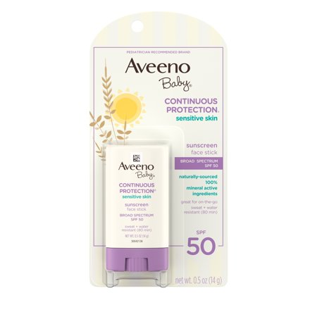 Aveeno Baby Sensitive Skin Face Sunscreen Stick, SPF 50, 0.5 (Best Biodegradable Sunscreens)