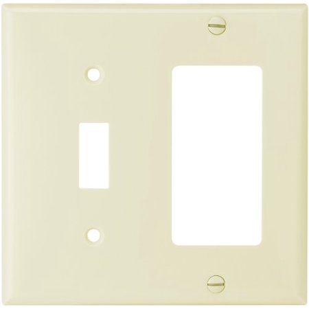 Cooper Wiring Devices 2153A-BOX Standard Size 2-Gang Thermoset Toggle and Decorator Combo Wall Plate, Almond Finish Cooper Wiring Devices Electric Switch