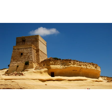 Canvas Print Sky Yellow Malta Blue Castle Fortress Tower Gozo Stretched Canvas 10 x 14