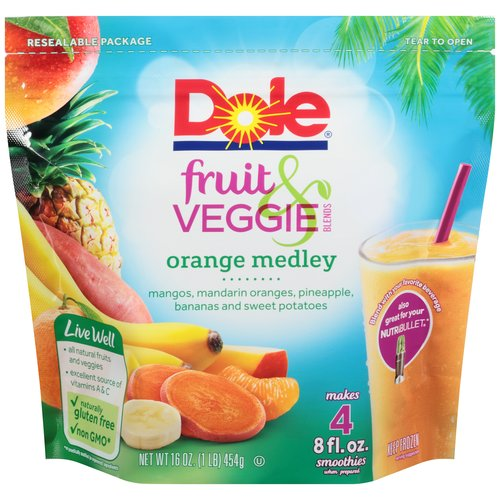 Dole Fruit & Veggie Blends Orange Medley Smoothies, 16 oz