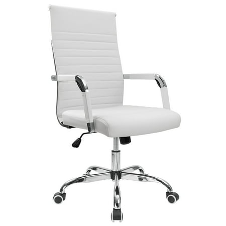 Walnew Ribbed Office Desk Chair Mid-Back Leather Executive Conference Task Chair Adjustable Swivel Chair with Arms (White) ()