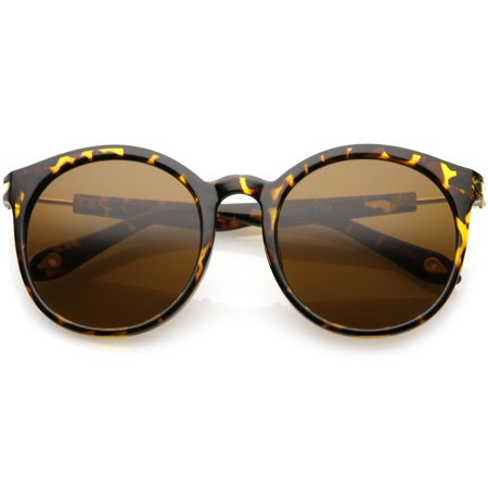 Classic Horn Rimmed Round Sunglasses Metal Arm Detail Neutral Colored Lens 53mm (Tortoise Gold / Brown)