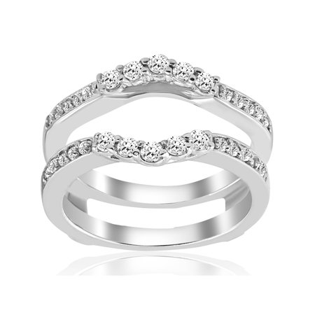 Diamond Ring Wrap Guard Insert - 1/2ct Diamond Guard Ring Insert Enhancer 14K White Gold
