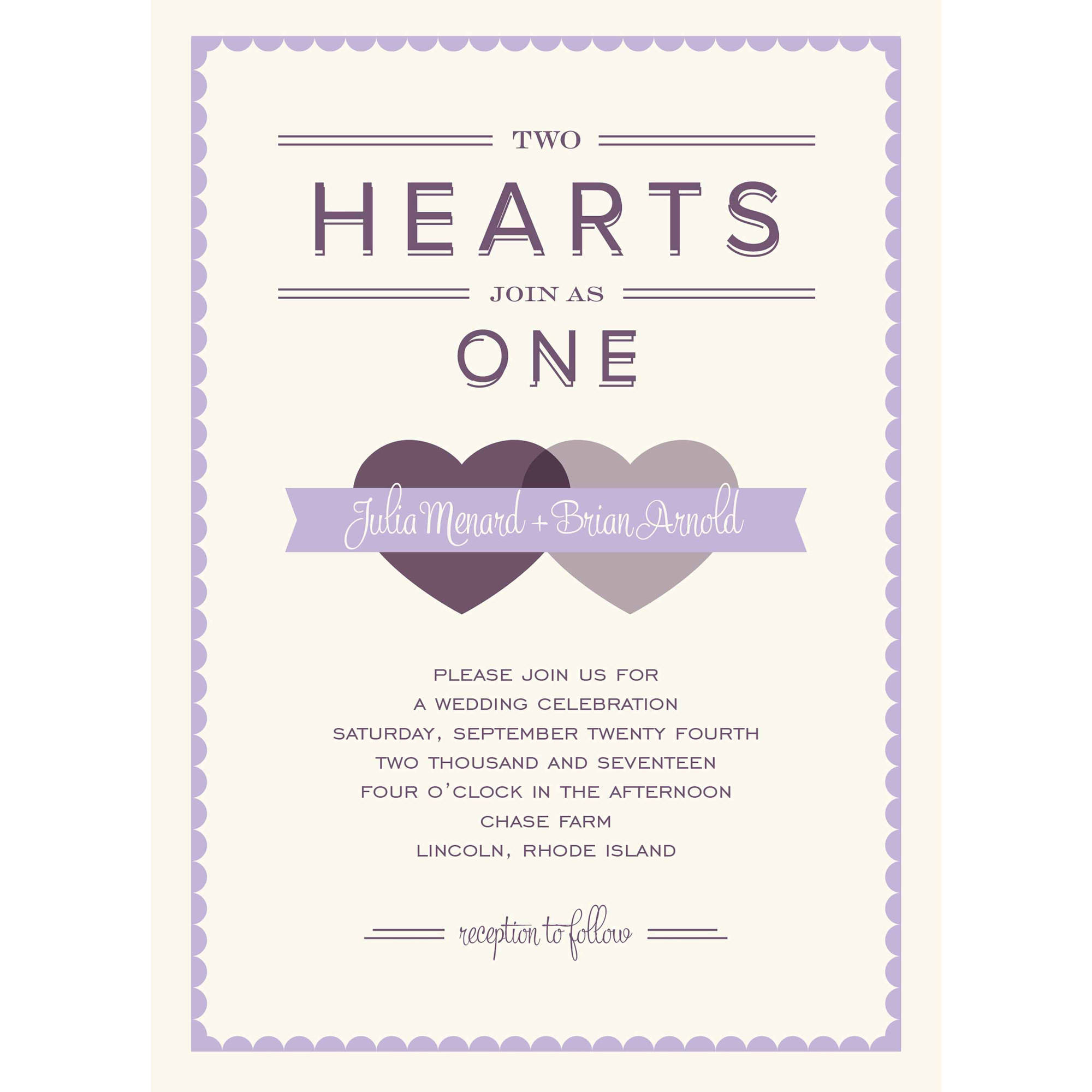 Two Hearts Standard Wedding Invitation