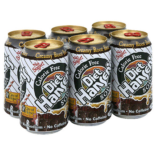Hansen's Creamy Rootbeer Diet Soda, 6 Co