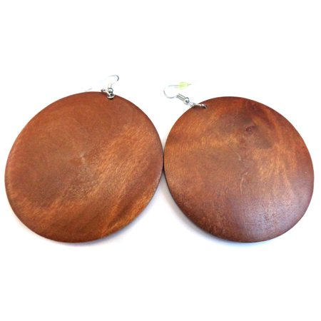 Bohemian Wood Hoop Earrings Round Circle Brown Earrings 2.5 inch