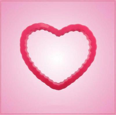 Pink Heart Scalloped Cookie Cutter Large