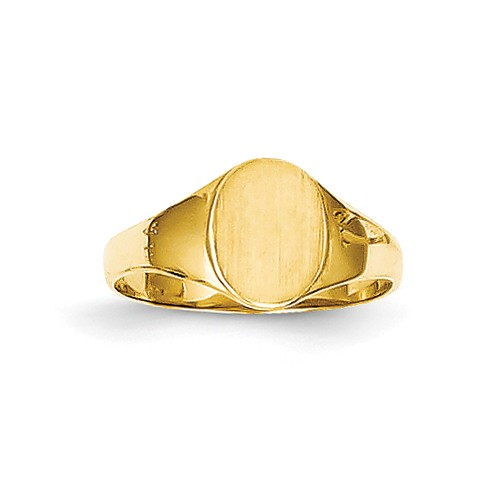 14k Yellow Gold Child's High Polished Oval Baby Signet Ring
