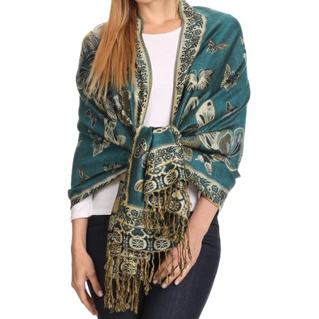 Sakkas Liua Long Wide Woven Patterned Design Multi Colored Pashmina Shawl / Scarf - Aqua - One Size Regular