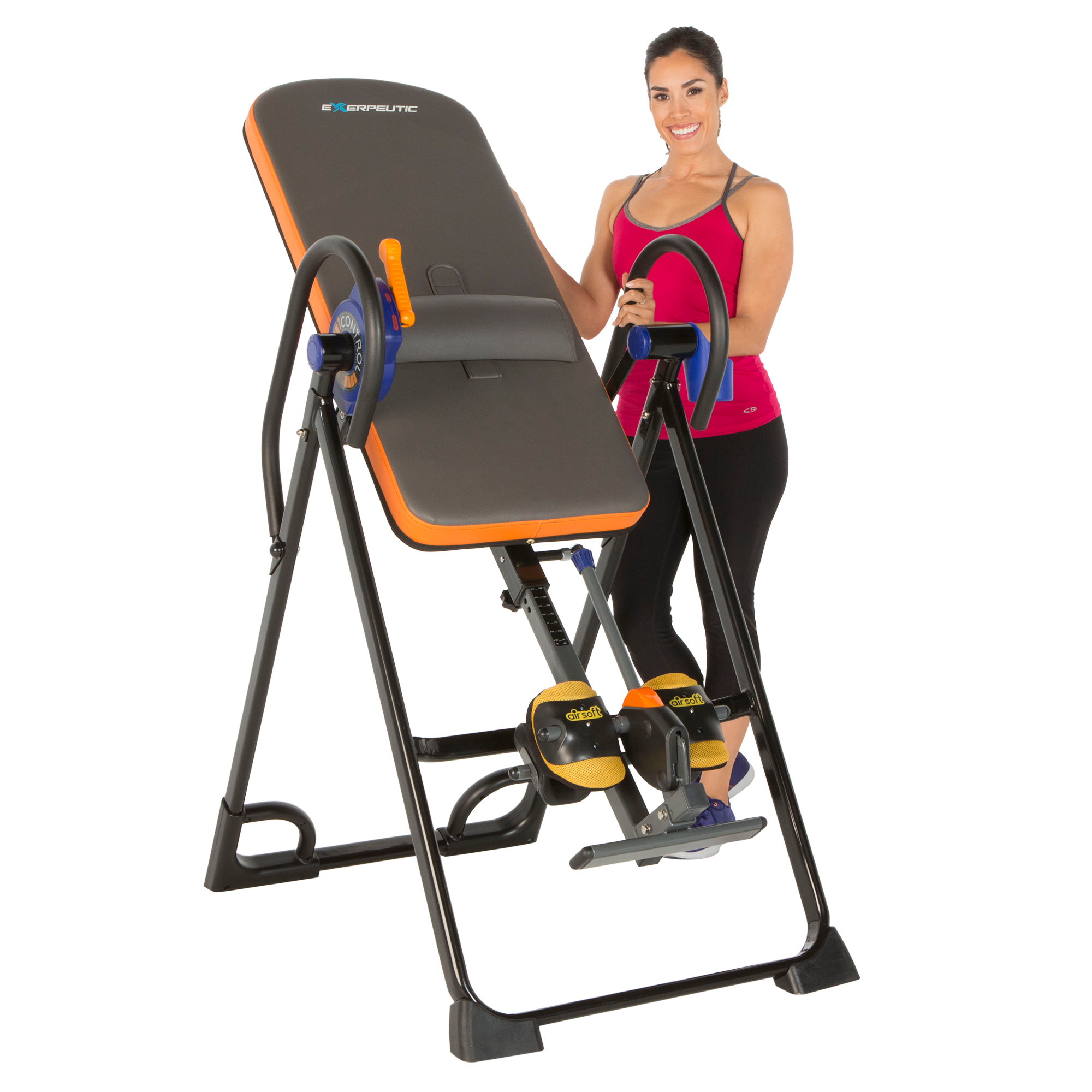 EXERPEUTIC 975SL 'All Inclusive' Extra Capacity Inversion Table with Air Soft Ankle Cushions, SURELOCK and iControl Systems