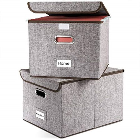 Prandom File Boxes Collapsible Decorative Linen Filing Storage Organizer Hanging File Folders With Lids Office Letter Legal Size Important