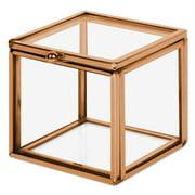 Koyal Wholesale Rose Gold Square Cube Glass Ring Box for Proposal, Engagement, Wedding Ceremony, Ring Bearer, Keepsake