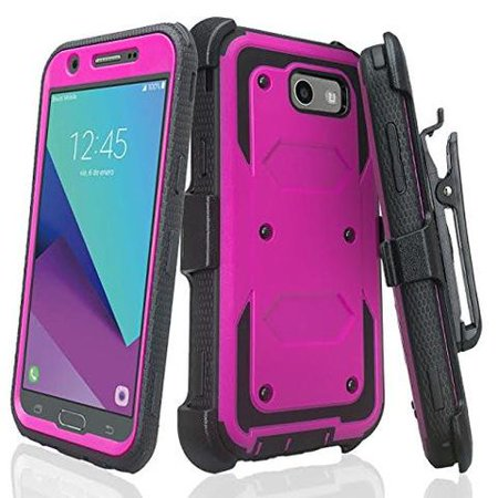 size 40 faf82 05b98 Samsung Galaxy J7 V, J7 Perx, J7 Sky Pro, J7 2017 Case, Rugged Full-Body  Armor [Built-in Screen Protector] Heavy Duty Holster Shell Combo Case for -  ...