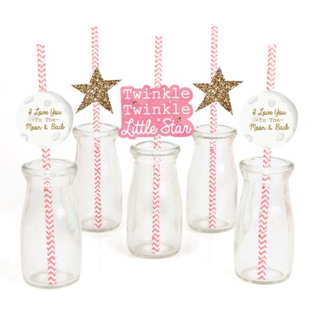 Decorative Computer Paper - Pink Twinkle Little Star - Paper Straw Decor - Baby Shower or Birthday Party Striped Decorative Straws - Set of