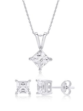 Sterling Silver Square Cubic Zirconia Stud Earring And Pendant Set