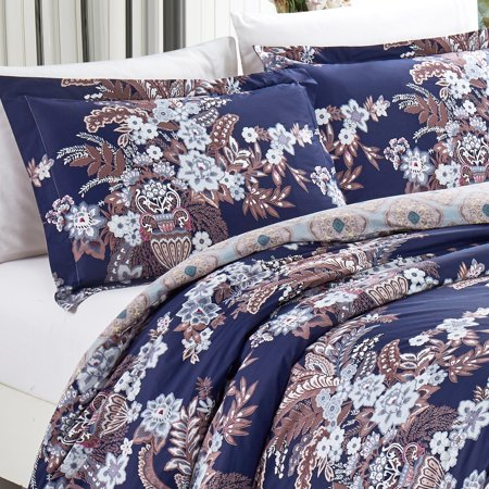 California Design Den Enchanted Down Alternative Comforter Cotton Navy, Full/Queen 3 Piece