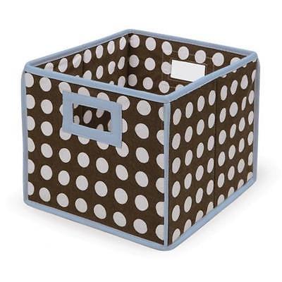 Badger Basket 00225 Folding Basket-Storage Cube Blue Trim-Brown Polka Dot Home Organizers Istilo107732 by GSS