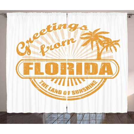 Florida Curtains 2 Panels Set Old Style Rubber Stamp Design With