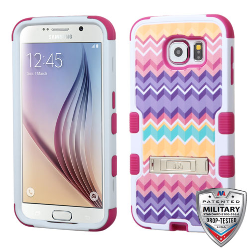 Samsung Galaxy S6 Case - Wydan TUFF Hybrid Hard Shockproof Case Kickstand Protective Heavy Duty Impact Skin Cover Chevron - Pink Purple