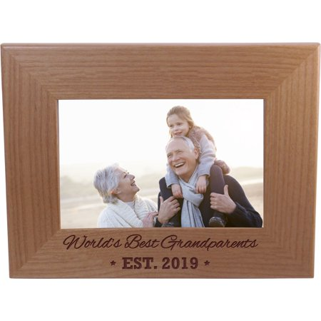 World's Best Grandparents EST. 2019 4-inch x 6-Inch Wood Picture