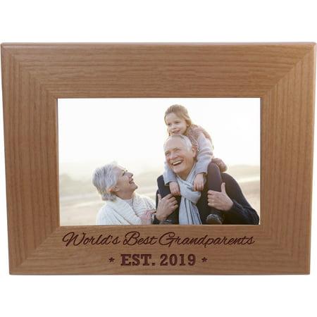 World's Best Grandparents EST. 2019 4-inch x 6-Inch Wood Picture (Best Photos Of 2019)