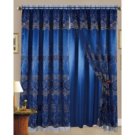 Set Of 2 Melissa Embroidered Curtain Panels With Attached