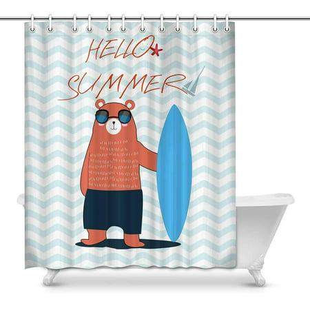 MKHERT Hello Summer Teddy Bear Surfboard in Stripes Ocean Waves Home Decor Waterproof Polyester Fabric Shower Curtain Bathroom Sets Hooks 60x72 inch (Ocean Wave Stripe)