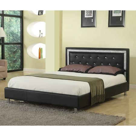 Best Master Furniture Upholstered Platform Bed, Faux Leather, Cal. King