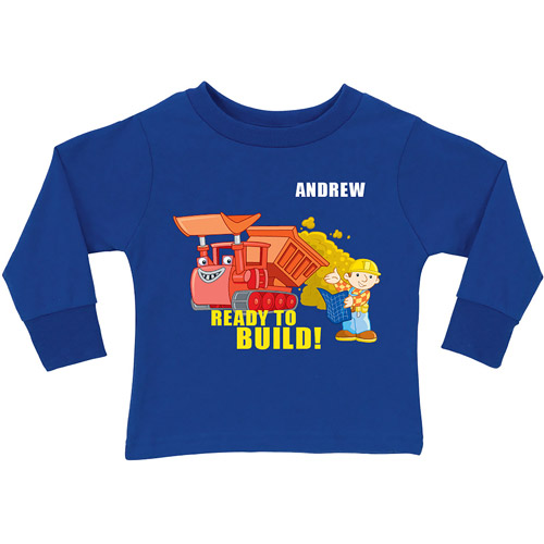 Personalized Bob the Builder Muck Royal Blue Toddler Long Sleeve Tee