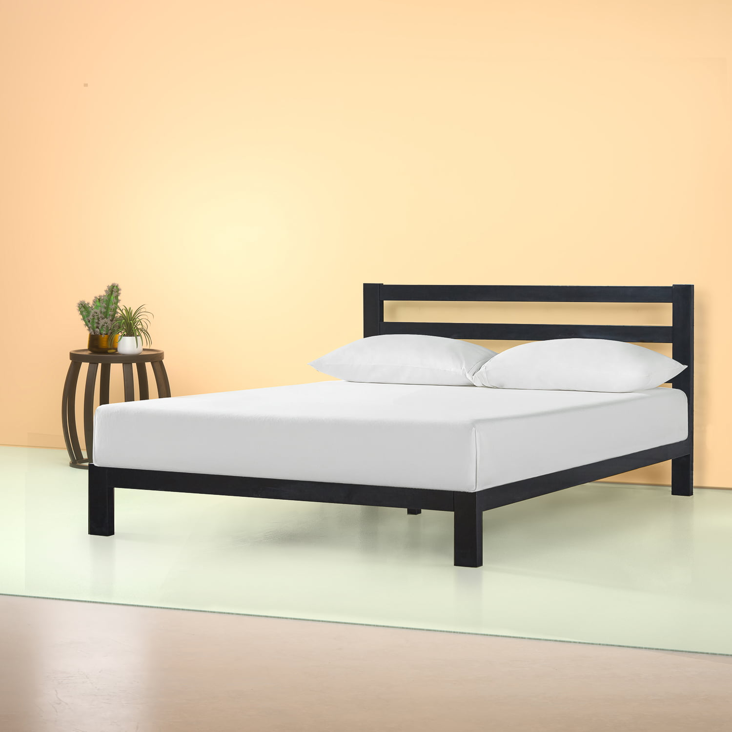Zinus Arnav Modern Studio 36 Black Metal Platform Bed With Headboard Twin Walmart Com Walmart Com