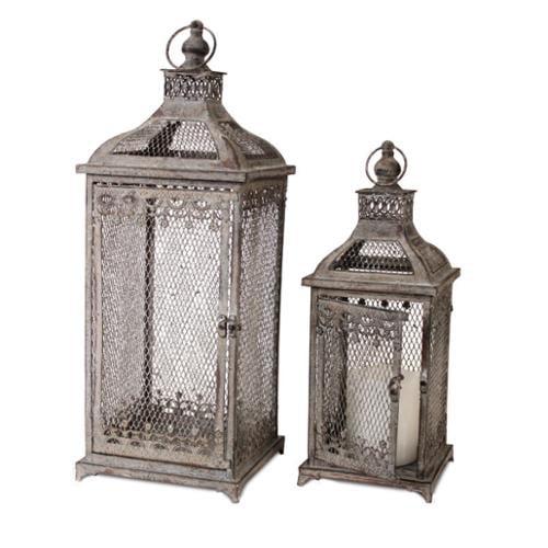 Set of 2 Weathered French Country Garden Iron Pillar Candle Holder Lanterns