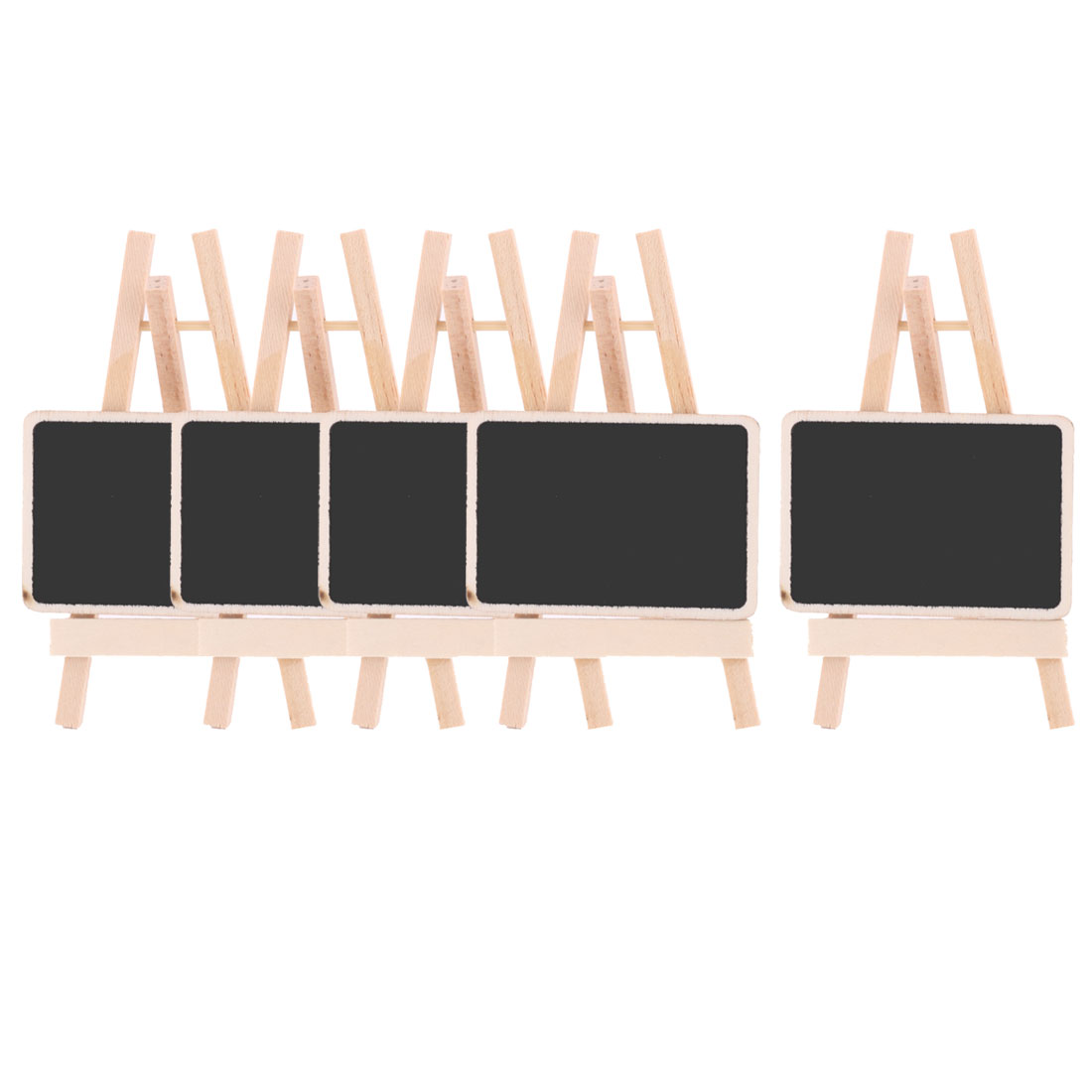 Feast Wood Rectangle DIY Standing Message Memo Blackboard 4.7 Inch Height 5pcs