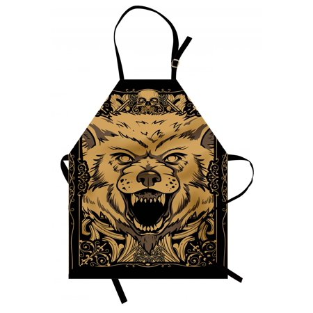 Wolf Apron Angry Carnivore Animal Face with Skull Ornamental Curlicues Swirls Lines Frame, Unisex Kitchen Bib Apron with Adjustable Neck for Cooking Baking Gardening, Black Pale Caramel, by