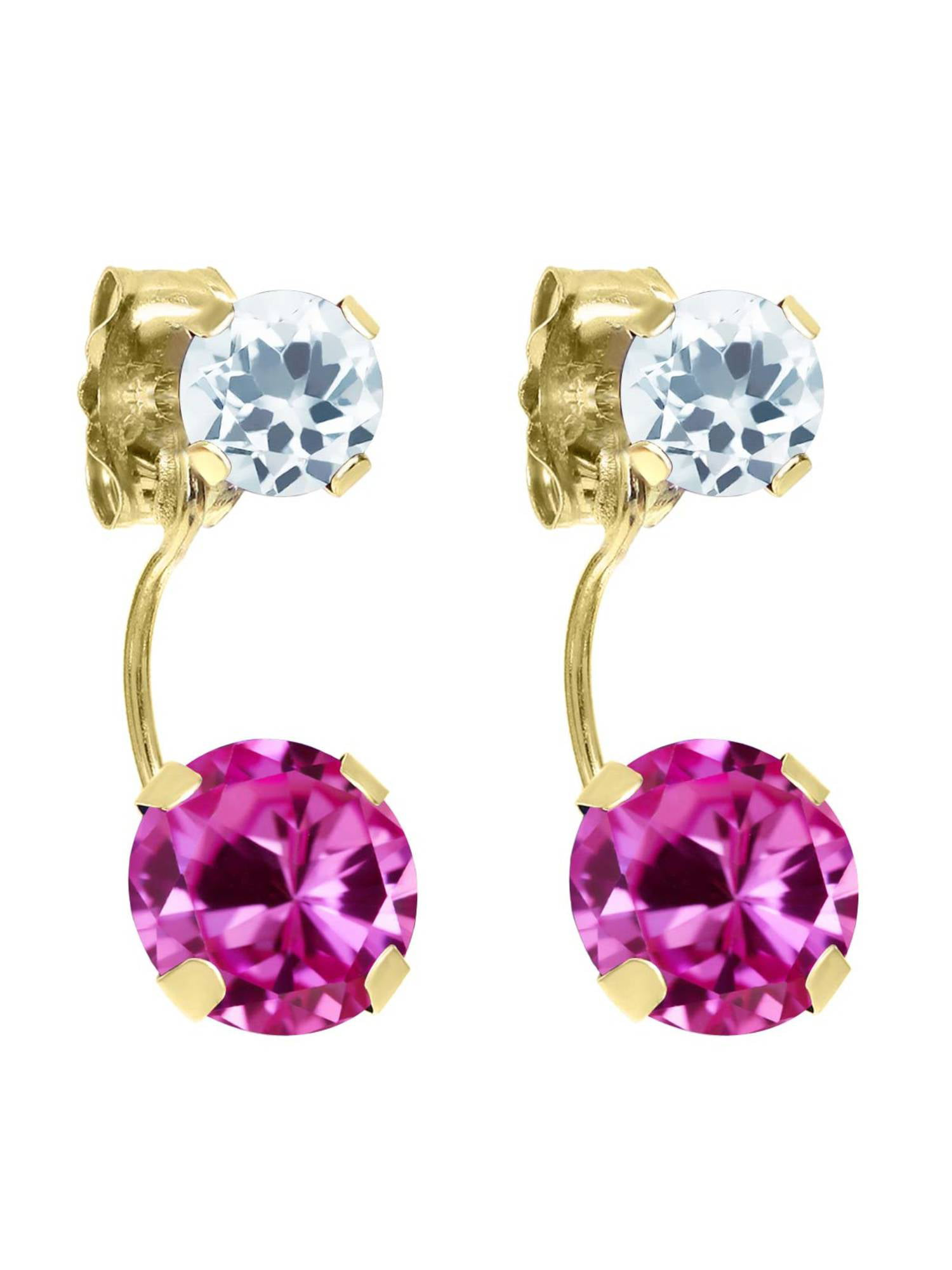2.44 Ct Round Pink Created Sapphire Sky Blue Aquamarine 14K Yellow Gold Earrings by
