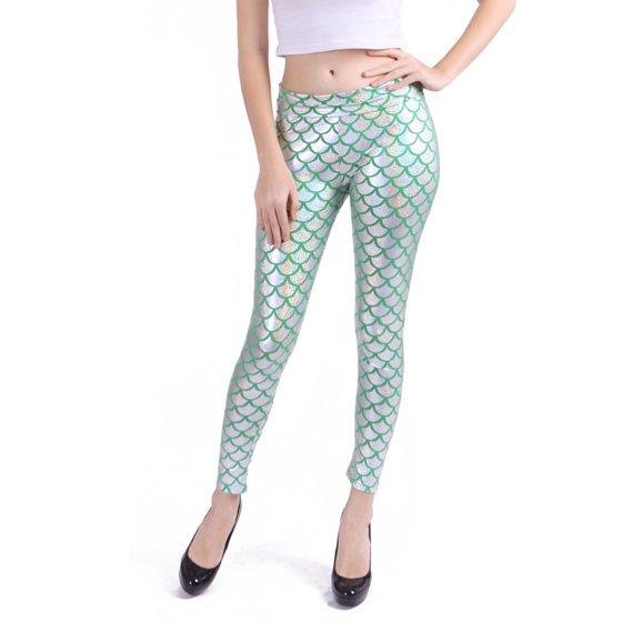 4e4cfab94c HDE - Women's High Waisted Shiny Mermaid Leggings Liquid Metallic Fish  Scale Stretch Pants (Gold) - Walmart.com