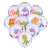 AkoaDa 10pcs/lot 12inch Thicken Mixed Color Printing Transparent Balloon Dinosaur Latex Ballon Birthday Decoration Interesting Kid Toys