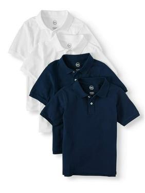 Wonder Nation Boys 4-18 School Uniform Short Sleeve Pique Polo Shirts, 4-Pack Value Bundle