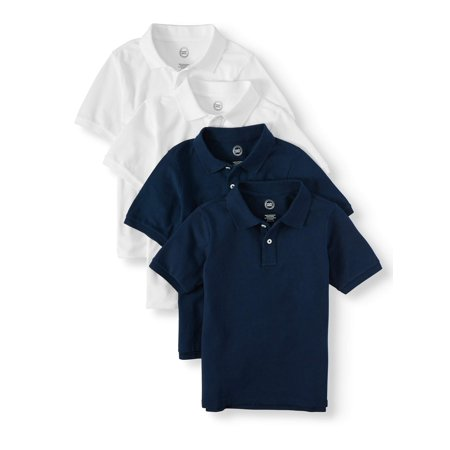Back To School Clothing (School Uniform Short Sleeve Pique Polos, 4-piece Multipack (Little Boys & Big)