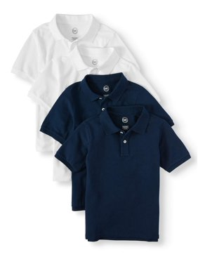 Wonder Nation Boys School Uniform Short Sleeve Pique Polos, 4-piece Multipack (Little Boys & Big Boys)