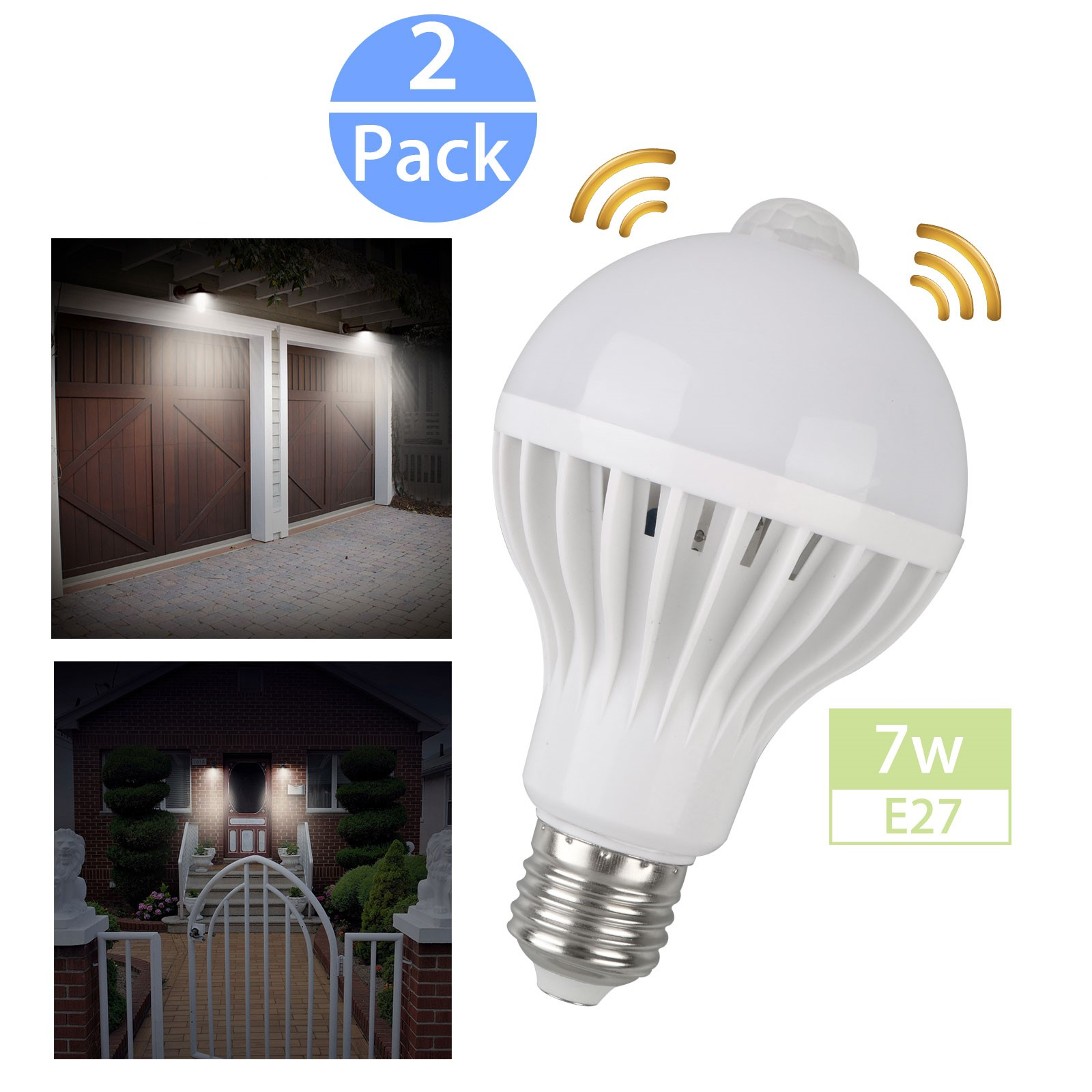 Outdoor Motion Sensor Light Bulb E27 7w Indoor Automatic Activated By Motionsecurity Bulbs For Entrance Porch Stairs Garage Hallway 2 Pack Walmart Com Walmart Com