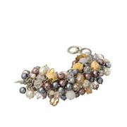 Ivory Rose Glass Purple Bead Cluster Imitation Pearl & Statement Toggle Bracelet