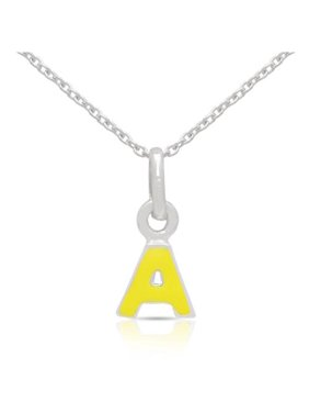 Sterling Silver Yellow Enamel A to Z Option Initial Necklace
