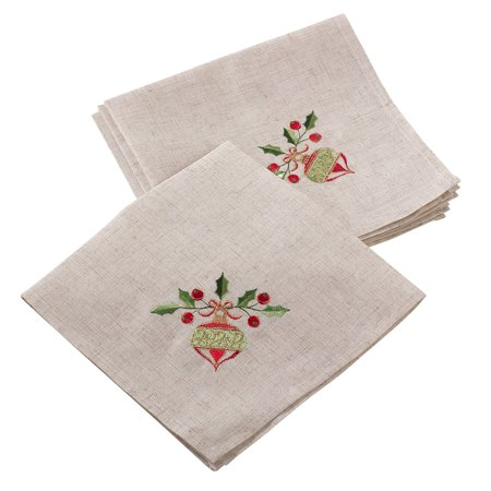 Fennco Styles Embroidered Ornament Design Christmas Holiday Linen Blend Dinner Napkin (20