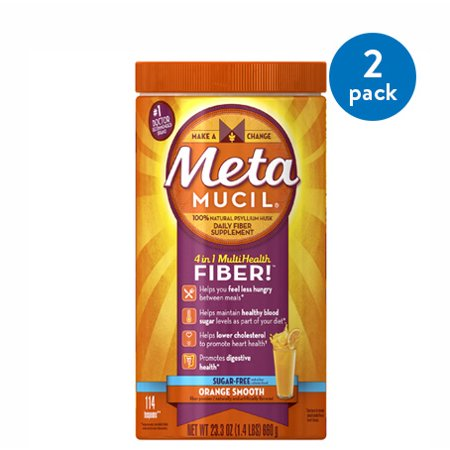 - (2 Pack) Metamucil Multi-Health Psyllium Fiber Supplement Sugar-Free Powder, Orange Flavored, 114 Servings