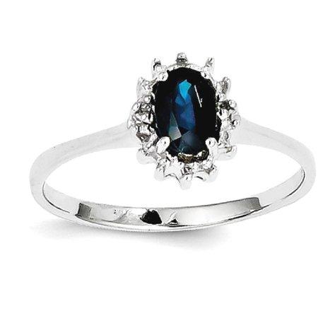 Icecarats 925 Sterling Silver Sapphire Diamond Band Ring Size 7 00  Stone Gemstone