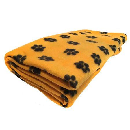 lovemyfabric Fleece Printed Paw Print Yellow/Gold Throw Blanket 58 Inch By 36 Inch ()